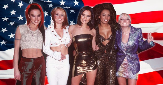 Spice Girls pictured in front of American flag