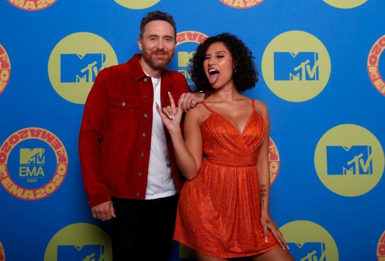 David Guetta and Raye on MTV EMAs 2020 red carpet