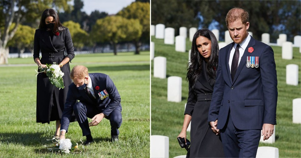 Harry and Meghan visited the Los Angeles National Cemetary to mark Remembrance Sunday.