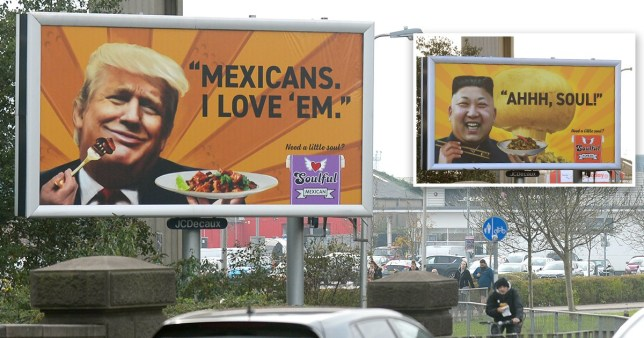 Picture: WALES NEWS SERVICE Offensive Kim Jong-un advert is replaced with a Donald Trump one instead