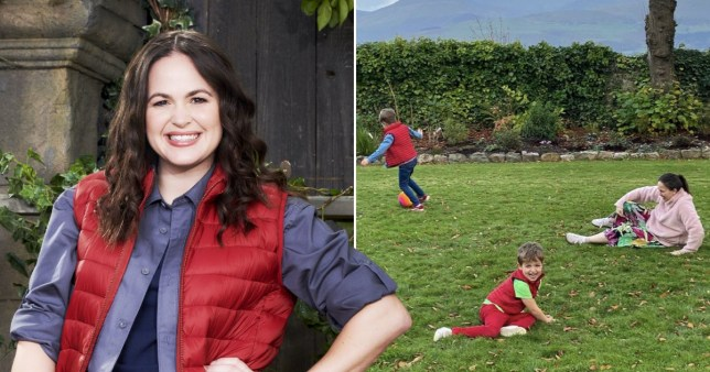 Giovanna Fletcher in I'm A Celebrity kit and pictured with sons on Welsh castle grounds