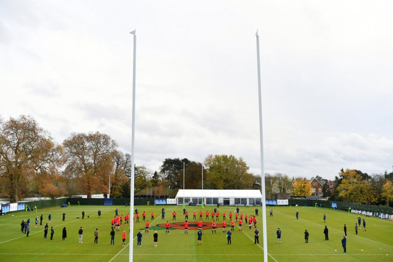 TEDDINGTON, ENGLAND - NOVEMBER 11: Players and staff of England participate in a minute silence in honour of Armistice Day during a training session ahead of their Autumn Nations Cup match against Georgia at The Lensbury on November 11, 2020 in Teddington, England. (Photo by Dan Mullan - RFU/The RFU Collection via Getty Images)