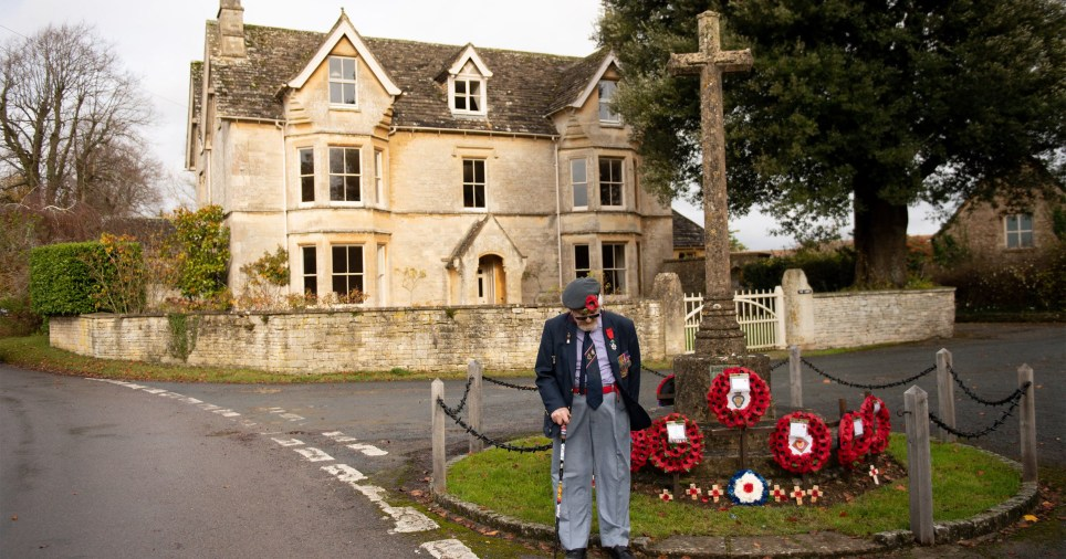 RAF Veteran Alan McQuillin, 97, observes the two minute silence at a war memorial by his home in Cirencester, Gloucestershire, marking the anniversary of Armistice Day. PA Photo. Picture date: Wednesday November 11, 2020. Homes across the UK will fall silent in remembrance of the nation's war dead on Armistice Day, as the coronavirus pandemic limits public commemorations. See PA story MEMORIAL Remembrance. Photo credit should read: Jacob King/PA Wire