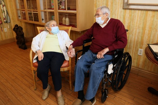 World War II veteran Frank Caruso, 99, with his wife Ann, 94, at The Fountains assisted living facility in Tuckahoe Nov. 2, 2020. The couple have been married for 72 years and Caruso will be a 100 years-old on Nov. 19. Frank Caruso