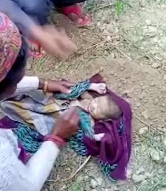 C'est le moment où un nouveau-né a été sauvé après avoir été retrouvé enterré vivant dans une ferme.