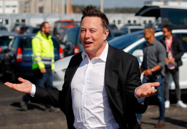 Tesla CEO Elon Musk during a visit visit the construction site of the future US electric car giant Tesla in Gruenheide near Berlin.