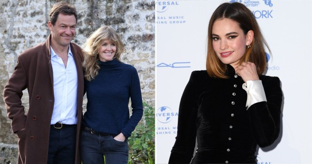 Dominic West, Catherine FitzGerald, and Lily James