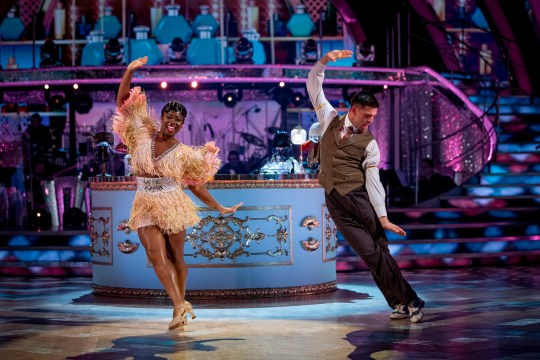 Clara Amfo and Aljaz Skorjanec performing on Strictly Come Dancing