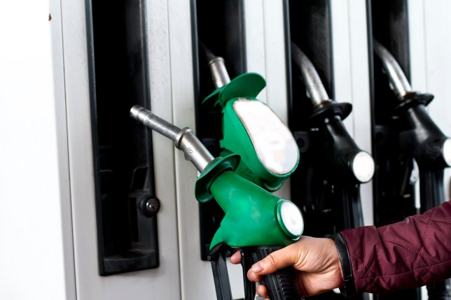 Person lifting fuel pump to fill fuel in car