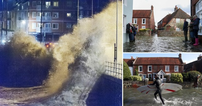 Pictures show flooding in the West Sussex town of Bosham and high waves in Aberystwyth