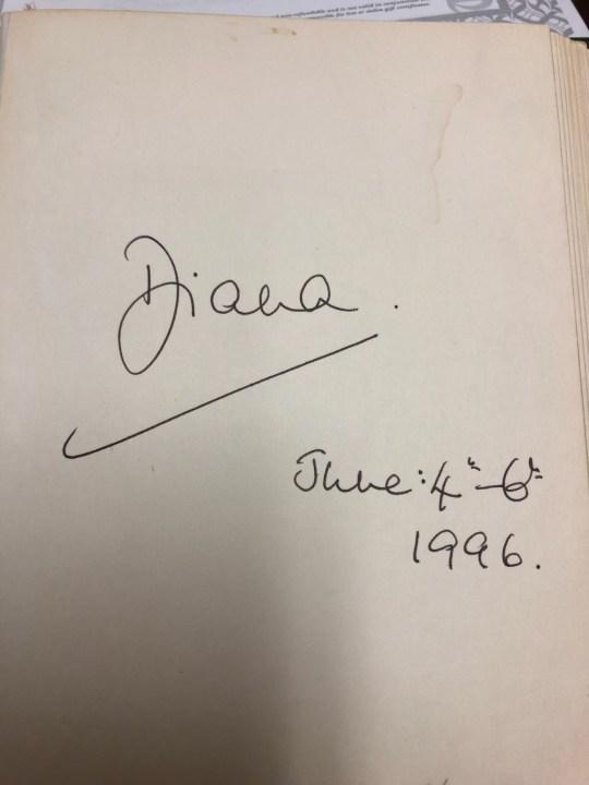Diana's signature