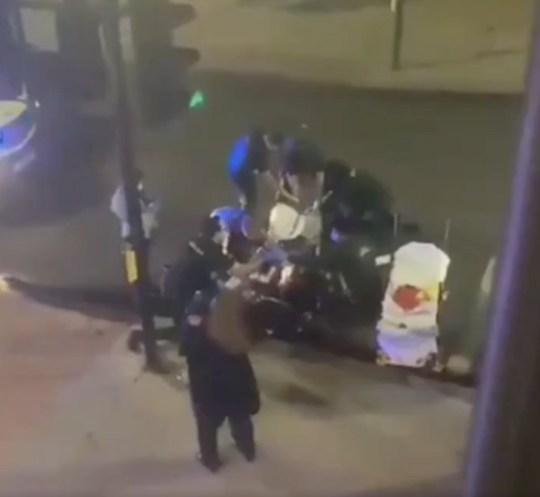 Paramedics treat shooting victim