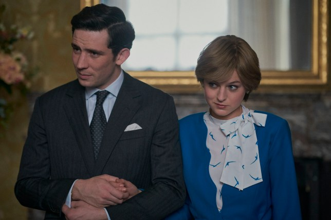 Prince Charles and Princess Diana played by Josh O'Connor and Emma Corrin in The Crown