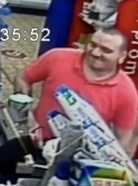 CCTV still of Shane Mays at the till of the Premier Store Store on the morning of VE Day.