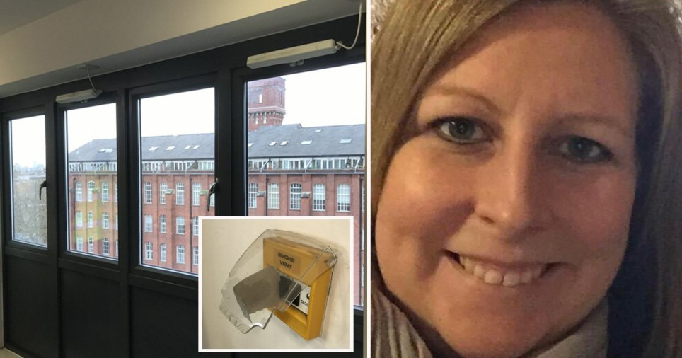 Pictures of Bryony Woods, the jammed ventilation system and the windows forced shut
