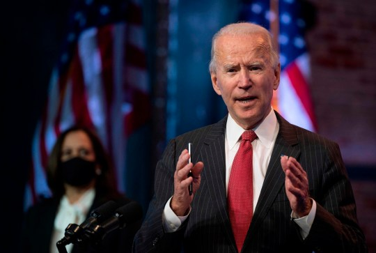 TOPSHOT - US President-elect Joe Biden speaks after a meeting with governors in Wilmington, Delaware, on November 19, 2020. - Biden said today he would not order a nationwide shutdown to fight the Covid-19 pandemic despite a surge in cases. (Photo by JIM WATSON / AFP) (Photo by JIM WATSON/AFP via Getty Images)