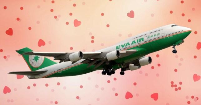 Image of Eva Air plane to showcase new speed dating flight