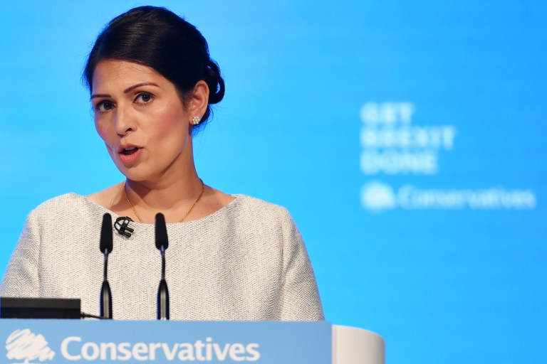 Home Secretary, Priti Patel addresses the delegates on the third day of the Conservative Party Conference at Manchester Central on October 1, 2019