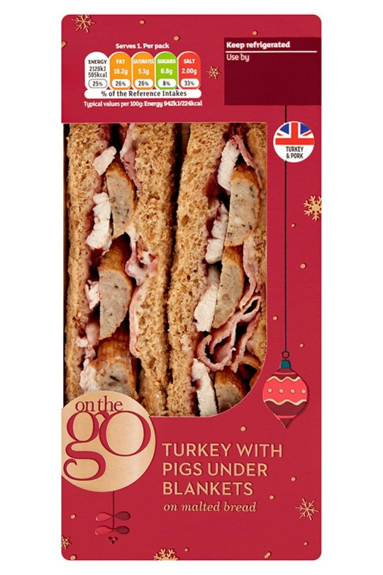 Sainsbury's Christmas sandwich menu includes Turkey With Pigs Under Blankets.
