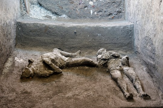 The remains of two men who died fleeing the volcanic eruption at Pompeii