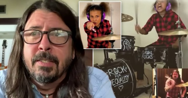 Nandi Bushell and Dave Grohl feature credit - both Nandia Bushell youtube and CBS