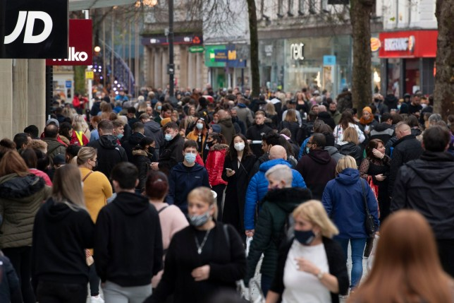 Shoppers in Cardiff after lockdown