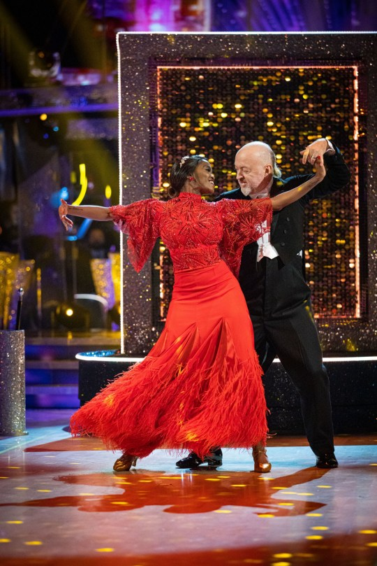 Oti Mabuse and Bill Bailey during the live show for Saturday's programme in the BBC1 dancing contest, Strictly Come Dancing.