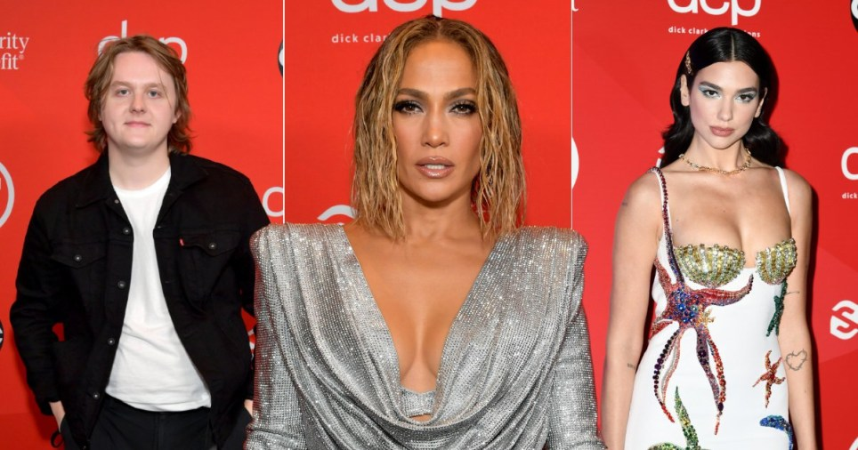 Lewis Capaldi, Jennifer Lopez and Dua Lipa at the American Music Awards