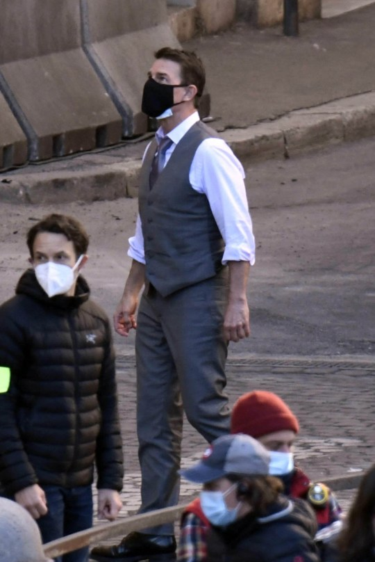 Tom Cruise and Hayley Atwell filming an action scene on Mission Impossible 7 set in Rome. 23 Nov 2020 Pictured: Tom Cruise, Hailey Atwell, Mission Impossible 7. Photo credit: MEGA TheMegaAgency.com +1 888 505 6342
