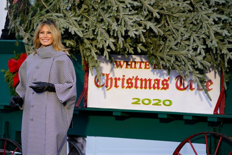 Melania Trump and Christmas tree