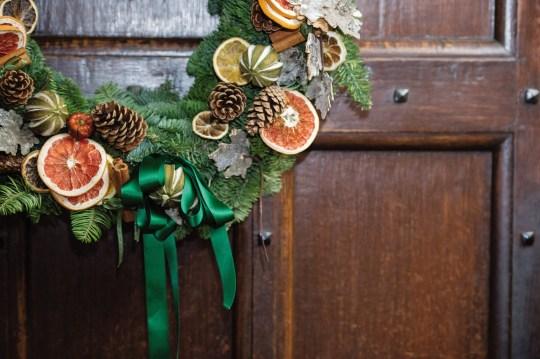 Festive Wreath hanging on door