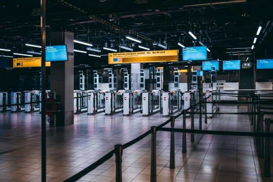 Arrival Immigration Passport Control Point at Amsterdam Schiphol Airport In The Netherlands Europe