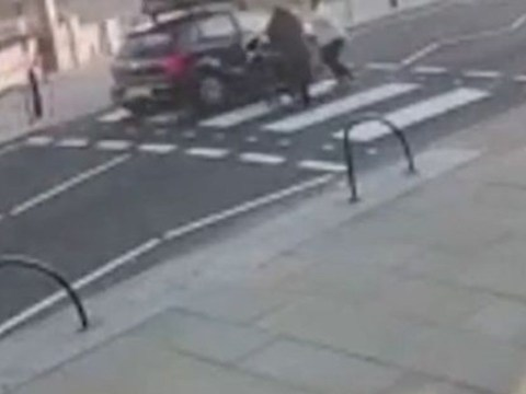 Driver clips pram with baby inside after refusing to stop at zebra crossing
