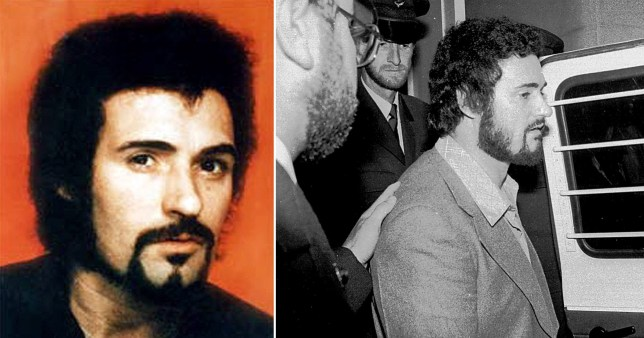 Two photos of Yorkshire Peter Sutcliffe: One in colour on the left, and one in black and white showing Sutcliffe being led into a police van