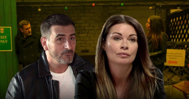 Alison King as Carla Connor and Chris Gascoyne as Peter Barlow in Coronation Street
