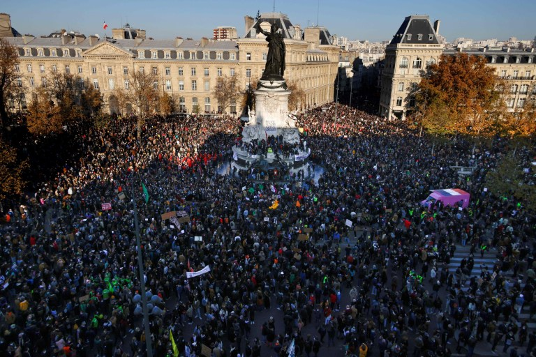 Demonstrators gather on the Place de la Republique