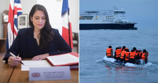 Priti Patel seen signing the agreement while another picture shows migrants crossing the channel in a dinghy