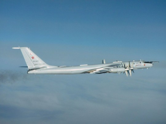 Ministry of Defence handout photo of one of two Russian Tupolev Tu-142 Bear F aircraft operating in international airspace near UK airspace that were intercepted by RAF Typhoons from RAF Lossiemouth. PA Photo. Picture date: Saturday November 28, 2020. The aircraft are used in the roles of Anti-Submarine Warfare and Maritime Patrol. See PA story DEFENCE Russia. Photo credit should read: SAC Iain Curlett RAF/PA Wire NOTE TO EDITORS: This handout photo may only be used in for editorial reporting purposes for the contemporaneous illustration of events, things or the people in the image or facts mentioned in the caption. Reuse of the picture may require further permission from the copyright holder.