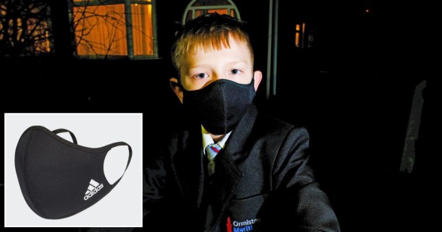 Jermaine Welsh, 12, was wearing a black mask with a small Adidas logo