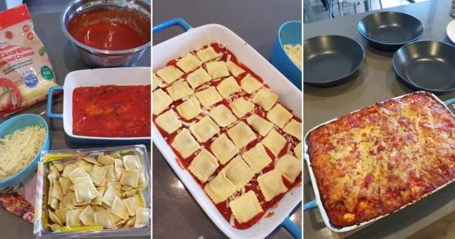 Lasagne made with ravioli