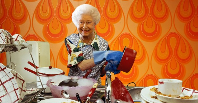 The Queen washing up