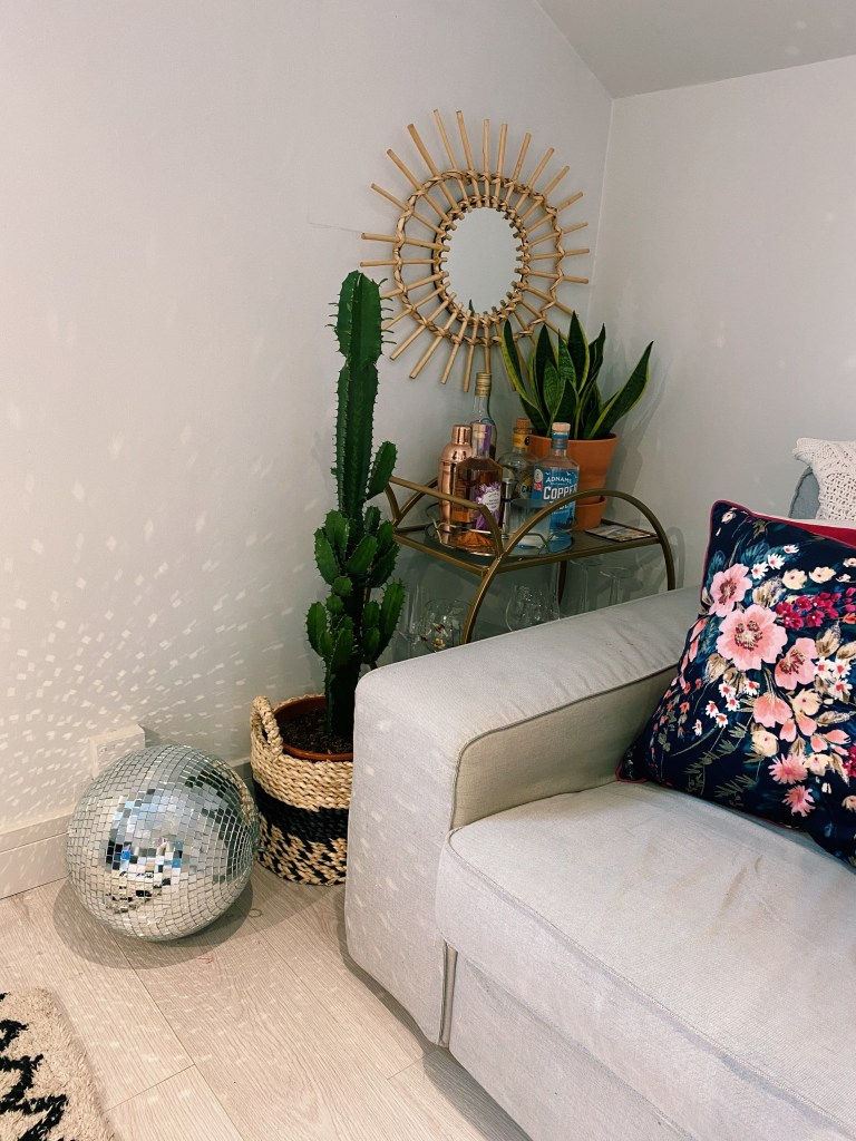 What I Rent: Rosie, Southsea - cactus and bar cart and disco ball