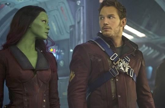 Zoe Saldana and Chris Pratt in Guardians of the Galaxy