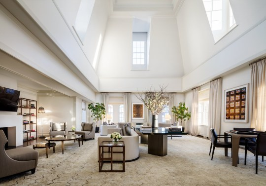 This is the super luxurious New York City penthouse suite where the Duchess of Sussex held her baby shower today (February 20). Meghan Markle, 37, was joined by some of her closest celebrity pals, including Amal Clooney, Suits star Abigail Spencer and Tennis pro Serena Williams, who is said to have picked up the tab for the exclusive venue. The Grand Penthouse suite at the New York Upper East Side hotel is the largest and most expensive in the U.S. at $75,000-a-night and sprawls over 10,000 square feet. That includes 2,500 square feet of rooftop terrace overlooking Central Park, the Metropolitan Museum of Art and beyond. Designed by French interior designer Jacques?Grange, the lavishly-adorned penthouse is set out over the top two floors of The Mark Hotel and includes five bedrooms, four fireplaces, six bathrooms, two powder rooms, and two wet bars. The living room which can be transformed into a full-sized Grand Ballroom boasts 26-foot ceilings, a fireplace and adjacent wet bar. Decorated with custom furniture designed by Jacques Grange, every piece is unique to The Mark. The Mark penthouse boasts its own conservatory, library lounge, stately dining room and a stunning private rooftop terrace with an outdoor dining and entertaining area. 20 Feb 2019 Pictured: The interior of The Grand Penthouse suite at The Mark hotel in New York s Upper East Side hotel where Meghan Markle hosted her baby shower on Wednesday 20 February, 2019. Photo credit: The Mark Scott Frances/ MEGA TheMegaAgency.com +1 888 505 6342