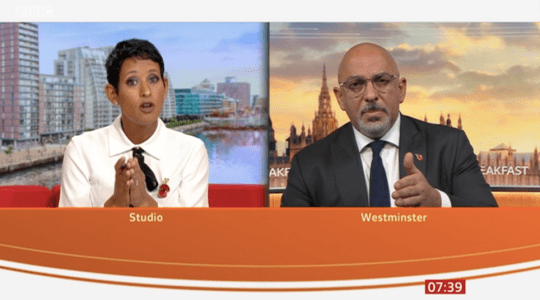 Naga Munchetty and Nadhim Zahari on BBC Breakfast.
