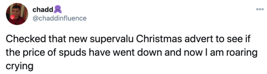 Tweet about SuperValu Christmas advert
