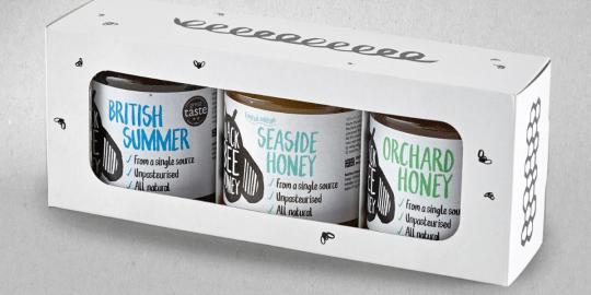 Triple pack of unpasteurised British honey, Orchard, Summer and Seaside, Black Bee Honey