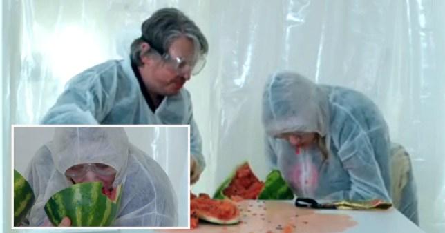 Daisy May Cooper eating watermelon on Taskmaster