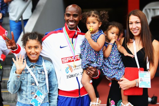 Mo Farah and Tania Farah with their daughters in 2014