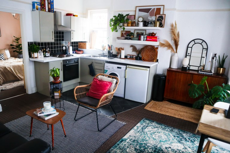 a view of the living room, kitchen and dining space of beverley's one-bedroom flat